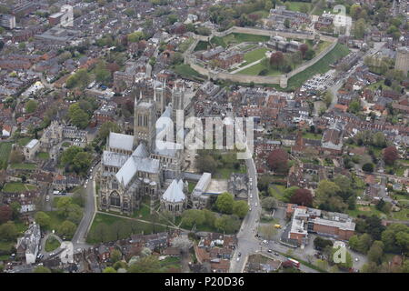 An aerial view of the Cathedral and Castle in Lincoln - Stock Image