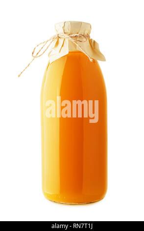 Orange handmade craft juice bottle mock-up isolated on a white background - Stock Image