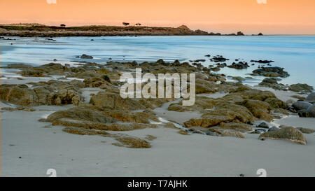 Long exposure landscape of the ocean near Pebble Beach, Monterey, California,, USA, on the 17-mile drive route in the winter of 2018, in the sunrise,  - Stock Image