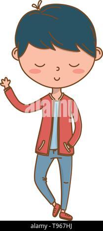 Stylish boy blushing cartoon outfit jeans jacket waving hello  isolated vector illustration graphic design - Stock Image