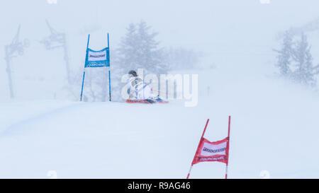 Courchevel, Rhone Alpes, France, 21st December 2018, Viktoria Rebensburg of Germany 2nd place in Ladies Giant Slalom Audi FIS Alpine Ski World Cup 2019 - Stock Image