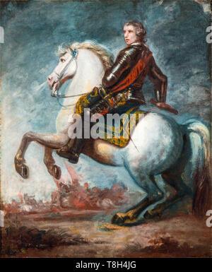 Sir Joshua Reynolds, Equestrian Portrait of Field-Marshall Rt. Hon. Sir Jeffrey Amherst, painting, circa 1768 - Stock Image