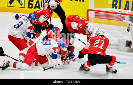 L-R Radko Gudas (CZE), Andres Ambuhl (SUI), Jan Kolar (CZE), Patrik Bartosak (CZE), Simon Moser (SUI) and Kevin Fiala (SUI) in action during the match between Czech Republic and Switzerland within the 2019 IIHF World Championship in Bratislava, Slovakia, on May 21, 2019. (CTK Photo/Vit Simanek) - Stock Image