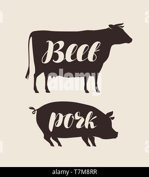 Farm animals. Butcher shop, fresh meat vector illustration - Stock Image
