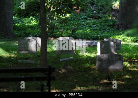 NEW YORK, NY - AUGUST 16: Friends Quaker Cemetery is a resting place of Montgomery Clift. Prospect Park, Brooklyn on August 16th, 2016 in New York, US - Stock Image