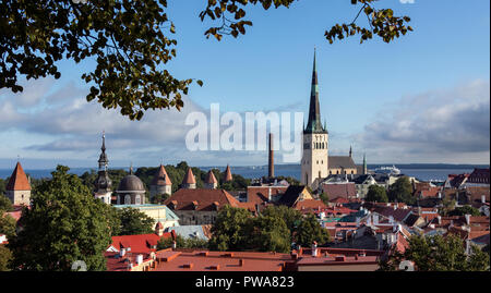 The city of Tallinn in Estonia. The Old Town is one of the best preserved medieval cities in Europe and is a UNESCO World Heritage Site.  Tallinn is t - Stock Image