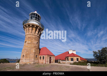 Heritage listed sandstone  Barrenjoey Head Lighthouse, Palm Beach, Northern Beaches, Sydney, New South Wales - Stock Image