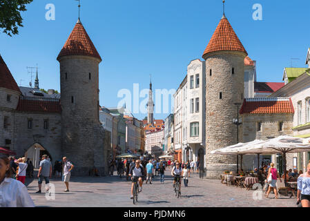 Tallinn Viru Gate, view of the Viru Gate in Tallinn - the eastern entrance to the central medieval Old Town quarter of the city, Estonia. - Stock Image