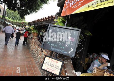 Sign at Cantina, Calle Olvera, or Olvera Street. El Pueblo de Los Angeles Historic Monument, Los Angeles - Stock Image