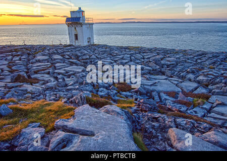 Aerial birds eye view of the burren national park. scenic tourism landscape for Unesco World Heritage site and global geopark geotourism along the wil - Stock Image
