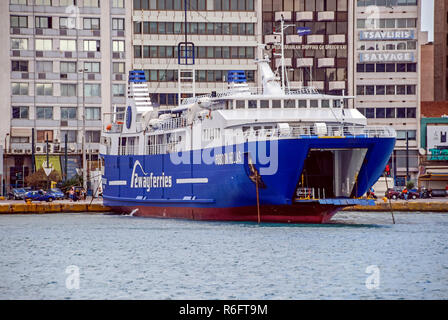 2wayferries car and passenger ferry Posidon Hellas moored in port of Piraeus Athens Greece Europe - Stock Image