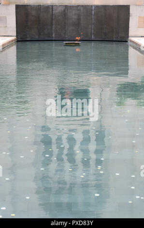 Reflection Pool and the Eternal Flame at the Canberra War Memorial in Australia - Stock Image