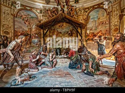 Italy Lombardy Unesco World heritage Site - Sacro Monte di Varese ( Varese sacred Mount ) - III Chapel - the Nativity - Stock Image