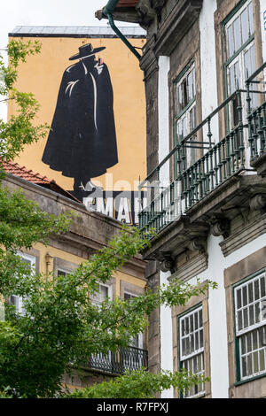 Sandemann wall painting,  Porto, Portugal - Stock Image