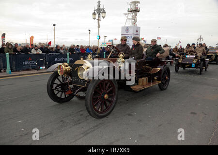 Mr Albert Eberhard driving his 1904 Mercedes down Madera Drive, after successfully completing the 2018 London to Brighton Veteran Car Run - Stock Image