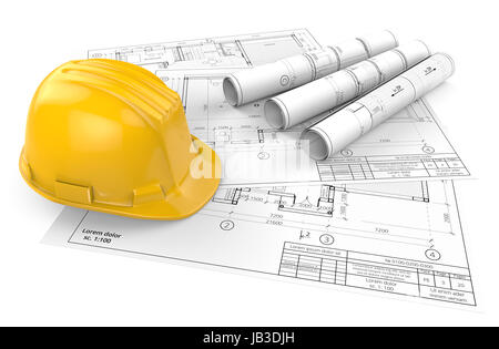 Yellow Hardhat on top of Generic Architectural blueprints, drawings and sketches. 3 Rolls.  3D render. - Stock Image
