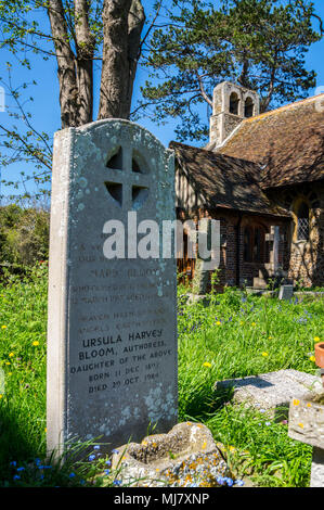 Gravestone of Ursula Bloom, novelist, 1892-1984, and her mother Mary, St. Mary the Virgin Church,  Connaught Avenue, Frinton-on Sea, Essex, England - Stock Image