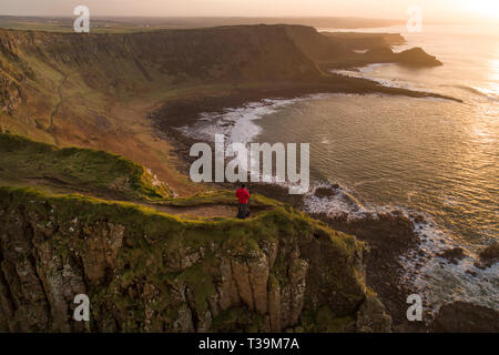 The beautiful rugged coastline of the Giants Causeway in County Antrim, Northern Ireland. - Stock Image
