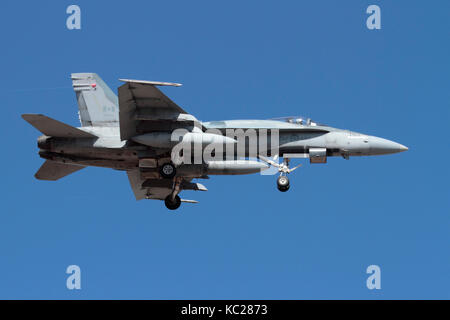 Modern military aviation. Royal Canadian Air Force CF-18 (CF-188) Hornet jet fighter plane on approach - Stock Image