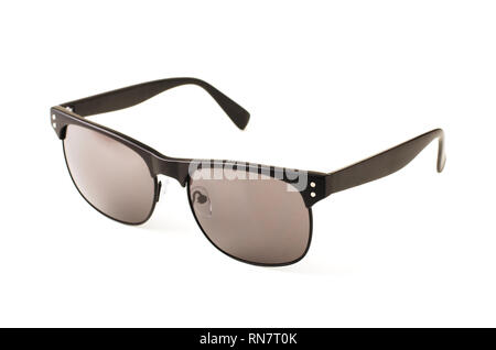 Black sunglasses isolated on a white background - Stock Image