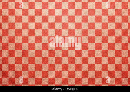 Japanese traditional red white color checkered pattern paper texture abstract - Stock Image