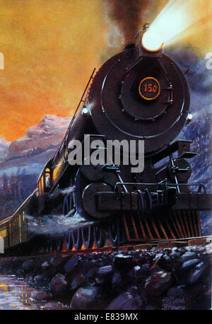The Overland Limited circa 1910 Crack train of Union Central Pacific Railways thundering through the Rockies - Stock Image