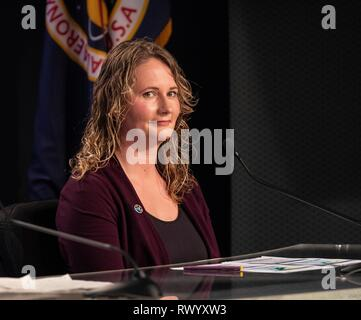 Melody C. Lovin, launch weather officer, 45th Weather Squadron, speaks to members of the media during a prelaunch news conference prior to the launch of the first commercial crew capsule Demo-1 at the Kennedy Space Center February 28, 2019 in Cape Canaveral, Florida. - Stock Image