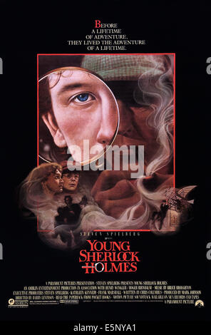 YOUNG SHERLOCK HOLMES, US poster art, Nicholas Rowe, (top), Alan Cox, (second left), 1985. ©Paramount/Courtesy - Stock Image
