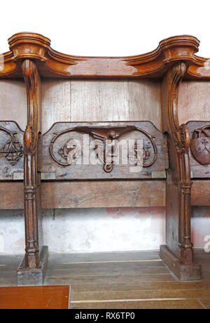 A misericord in the chancel of the parish Church of St Nicholas at Blakeney, Norfolk, England, United Kingdom, Europe. - Stock Image