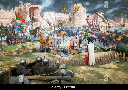 An exhibit depicting the conquest of Constantinople in 1443 at the Military Museum Istanbul - Stock Image