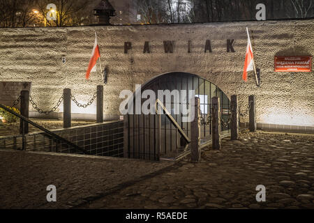 Warsaw, Poland, 25th Nov, 2018: Night view of the Museum of Pawiak Prison, the largest German prison in the occupied Poland's capital during the WW2. - Stock Image