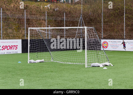 Five-a-side football nets at the Burnden Park small outdoor artificial football pitch in Bolton. - Stock Image