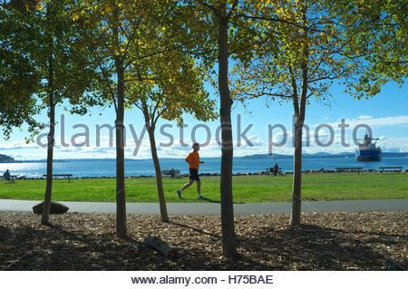 Jogger in Centennial Park, overlooking Elliott Bay, in Seattle, Washington State, USA. - Stock Image
