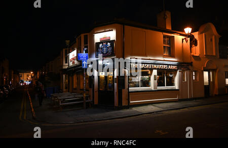 Brighton Views at night - The Basketmakers Arms pub in the North Laine district  Photograph taken by Simon Dack - Stock Image