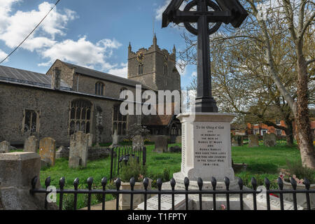War memorial England, view of the war memorial sited in St Mary's churchyard in Bures village, Babergh district, Suffolk, England, UK - Stock Image