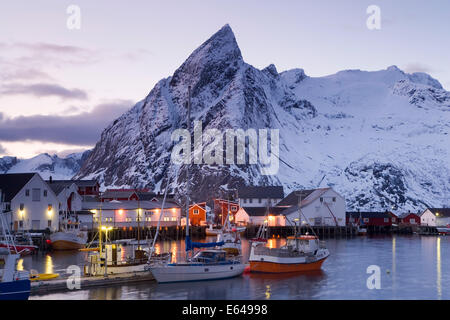 Harbour in winter at Hamnoy, Lofoten Islands, Norway - Stock Image