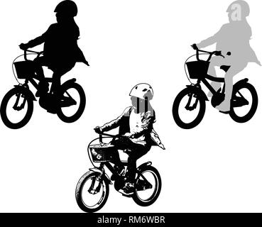 preschooler girl cycling sketch and silhouette - vector - Stock Image