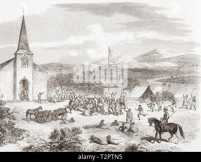 The Volkner incident, the murder of the German-born Protestant missionary Carl Sylvius Volkner in New Zealand in 1865.  Seen here the Pai Marire, (or Hauhau) people dance around Volkner prior to murdering him outside the Church of St Stephen the Martyr at Opotiki, Bay of Plenty, North Island, New Zealand.  From The Illustrated London News, published 1865. - Stock Image