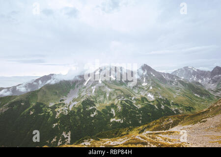 Moody mountains range Landscape Travel aerial view wilderness nature tranquil scenery - Stock Image