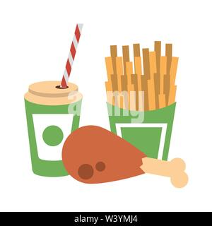 Food french fries and chicken with soda cup to go - Stock Image