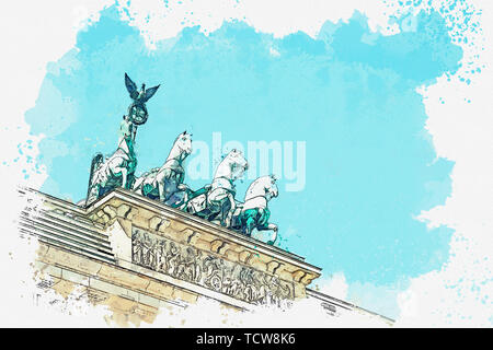 A watercolor sketch or illustration of the Brandenburg gate in Berlin, Germany. Architectural monument in historic center of Berlin. - Stock Image