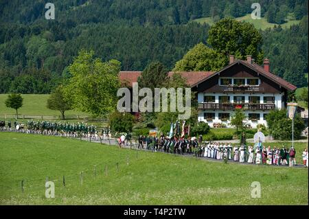 Corpus Christi procession in Wackersberg, Isarwinkel, Tolzer Land, Upper Bavaria, Bavaria, Germany - Stock Image