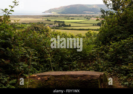 View of Bossington Hill across Porlock Bay from the Coleridge Way near Porlock - Stock Image