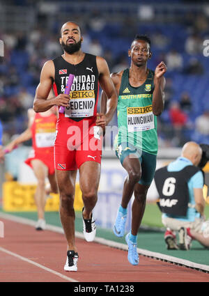 YOKOHAMA, JAPAN - MAY 11: Ashley Hlungwani of South Africa in the mens 4x400m relay during day 1 of the IAAF World Relays at Nissan Stadium on May 11, 2019 in Yokohama, Japan. (Photo by Roger Sedres/Gallo Images) - Stock Image