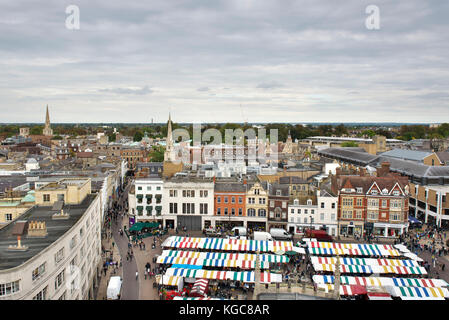 View from St Marys Church tower in historical cambridge city of the Market Square and kings college in the city - Stock Image