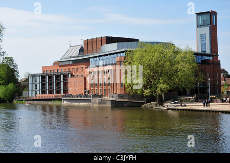 Royal Shakespeare Theatre following refurbishment on banks of River Avon, Stratford upon Avon, Warwickshire - Stock Image