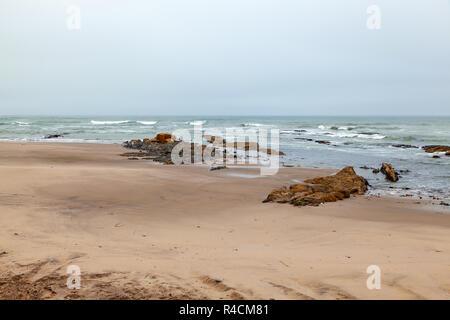 Long beach between Swakopmund and Walvis bay on the Namibian Atlantic coast. - Stock Image