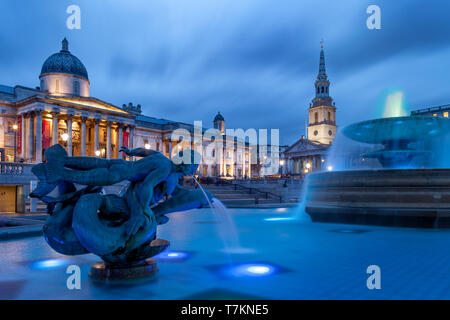 Trafalgar Square with St. Martins in the Field, National Gallery, West End, London England, UK - Stock Image