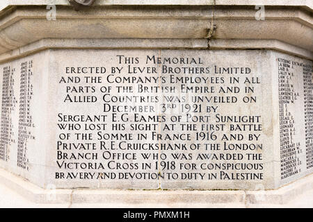 Liverpool Wirral Port Sunlight Village WWI WWII first second world war monument war memorial staff employees killed sacrificed lives inscriptions - Stock Image