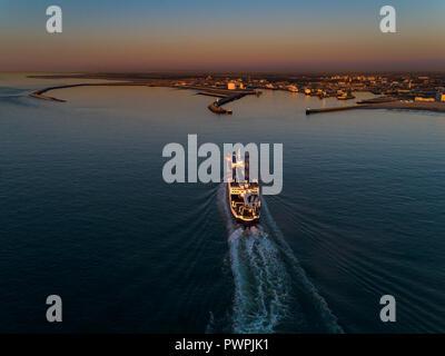 France, Hauts de France, Pas de Calais, aerial pic. Calais harbour - Stock Image